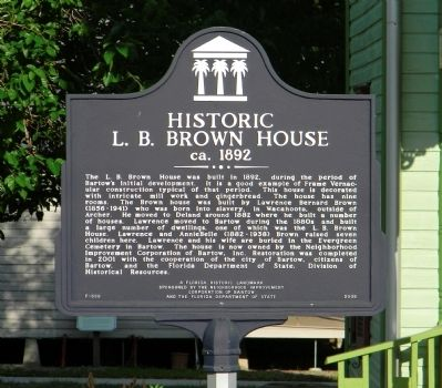 The Historic L. B. Brown House Marker image. Click for full size.