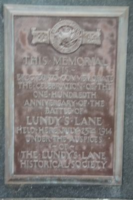 One Hundredth Anniversary of the Battle of Lundy's Lane Marker image. Click for full size.