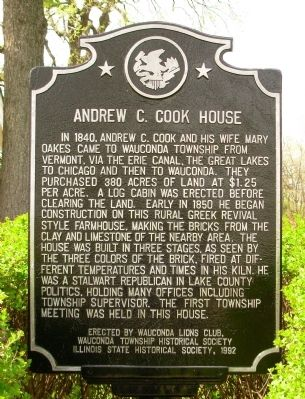 Andrew C. Cook House Marker image. Click for full size.
