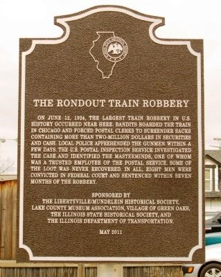 The Rondout Train Robbery Marker image. Click for full size.