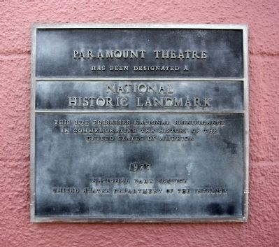 The Paramount Theatre was designated designated a National Historic Landmark... image. Click for full size.