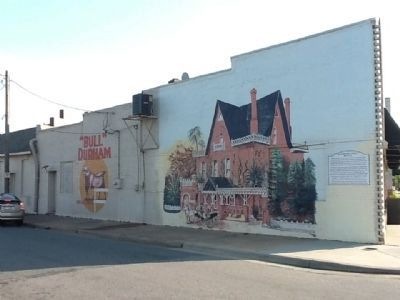 Railroad Street Mural Marker, Depiction of Korner's Folly, Bull Durham Advertisement image. Click for full size.