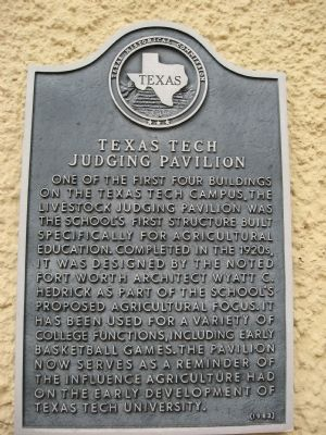 Texas Tech Judging Pavilion Marker image. Click for full size.