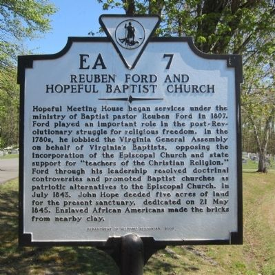 Reuben Ford and Hopeful Baptist Church Marker image. Click for full size.