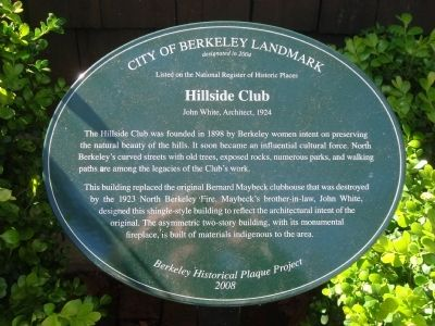 Hillside Club Marker image. Click for full size.