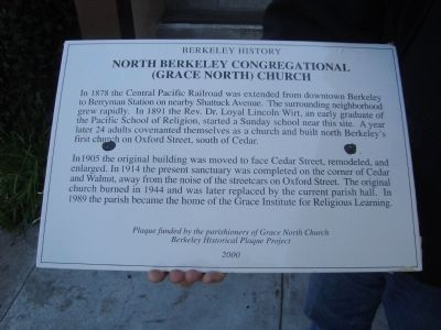 North Berkeley Congregational (Grace North) Church - Berkeley History Marker image. Click for full size.