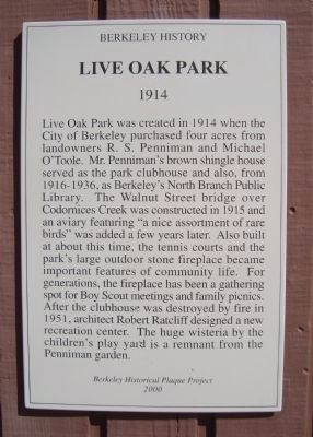 Live Oak Park Marker image. Click for full size.