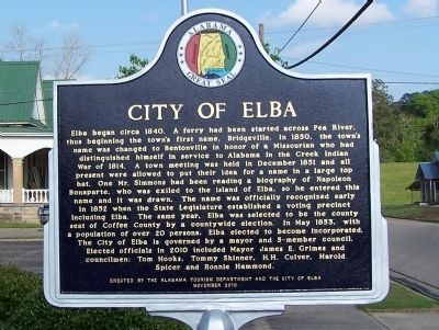 City of Elba Marker image. Click for full size.