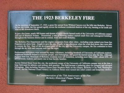 The 1923 Berkeley Fire Marker image. Click for full size.