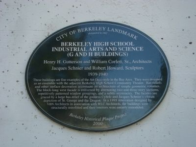 Berkeley High School Industrial Arts and Science (G and H Buildings) Marker image. Click for full size.