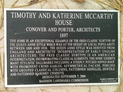 Timothy and Katherine McCarthy House Marker image. Click for full size.