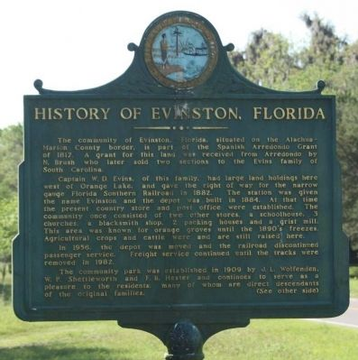 History of Evinston, Florida Marker image. Click for full size.