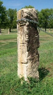 Post Rock Limestone Fence Post in a Lucas Park image. Click for full size.