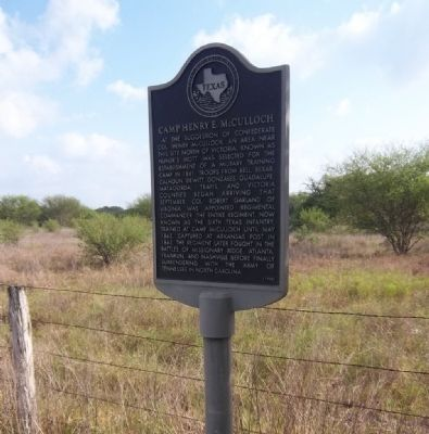 Camp Henry E. McCullough Historical Marker image. Click for full size.