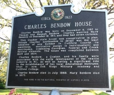 Charles Benbow House Marker image. Click for full size.
