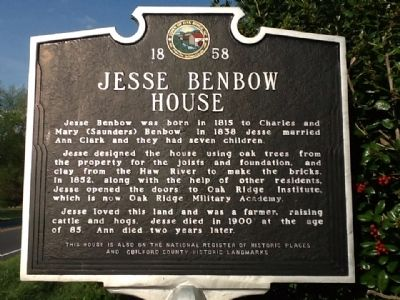 Jesse Benbow House Marker image. Click for full size.