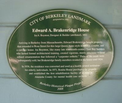 Edward A. Brakenridge House Marker image. Click for full size.