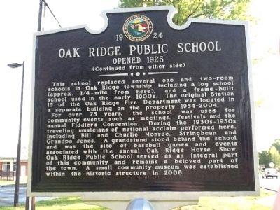 Oak Ridge Public School Marker (back) image. Click for full size.