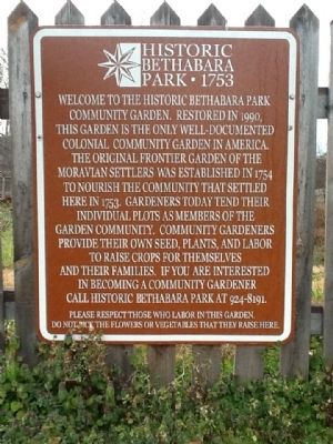 Historic Bethabara Park 1753 Marker image. Click for full size.