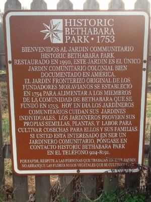 Historic Bethabara Park 1753 Marker (Spanish Version) image. Click for full size.