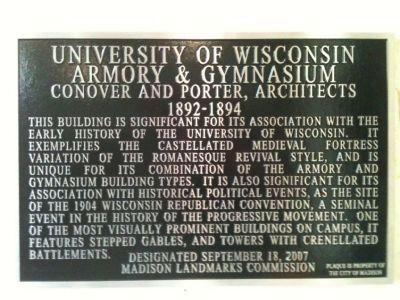 University of Wisconsin Armory & Gymnasium Marker image. Click for full size.