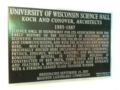 Science Hall Marker image. Click for full size.