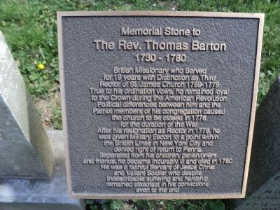 The Rev. Thomas Barton Marker image. Click for full size.