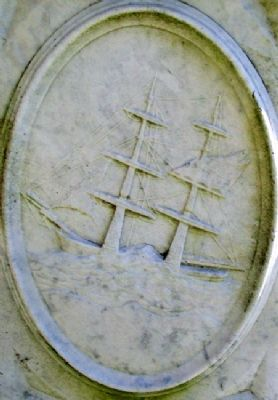 Ship Engraving on Hamor Gravestone in Village Burying Ground image. Click for full size.