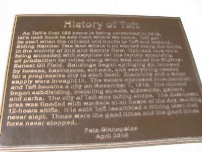 History of Taft Marker image. Click for full size.