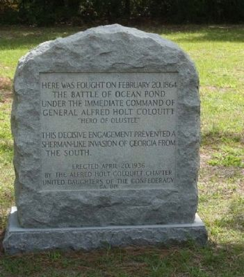 Battle of Ocean Pond (or The Battle of Olustee) Marker image. Click for full size.