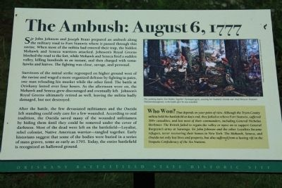 The Ambush: August 6, 1777 Marker image. Click for full size.
