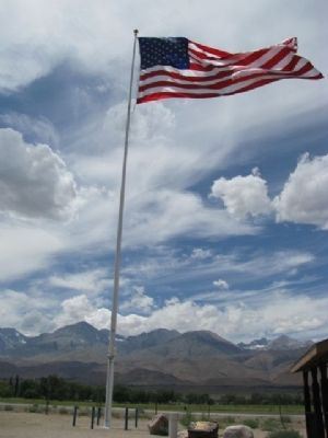 Big Pine Veterans Memorial Flagpole image. Click for full size.