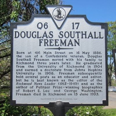 Douglas Southall Freeman Marker image. Click for full size.