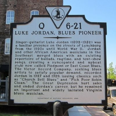 Luke Jordan, Blues Pioneer Marker image. Click for full size.