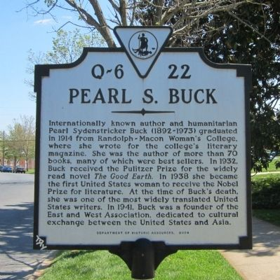 Pearl S. Buck Marker image. Click for full size.