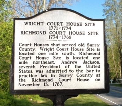 Wright Court House Site 1771-1774 — Richmond Court House Site 1774-1789 Marker image. Click for full size.