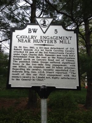 Cavalry Engagement near Hunter's Mill Marker image. Click for full size.