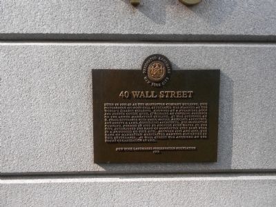 40 Wall Street Marker image. Click for full size.