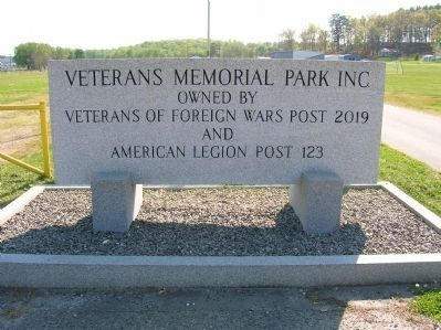 Nearby marker at Veteran's Park entrance image. Click for full size.