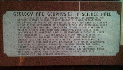 Geology and Geophysics in Science Hall Marker image. Click for full size.