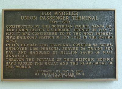 Los Angeles Union Passenger Terminal Marker image. Click for full size.
