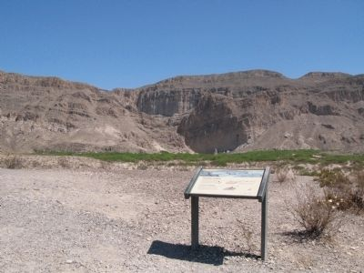 Boquillas Canyon Marker, Boquillas Canyon in distance image. Click for full size.