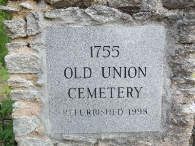 1755 Cemetery of Union Church Marker image. Click for full size.