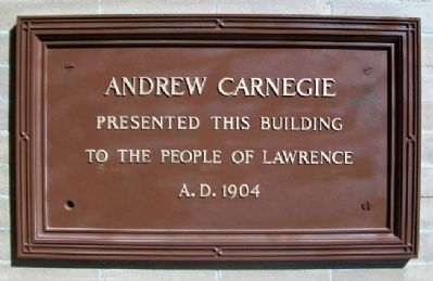 Lawrence City [Carnegie] Library Marker image. Click for full size.