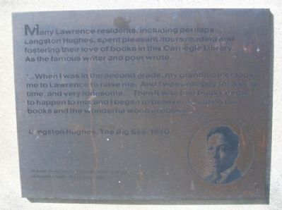 Langston Hughes and the Carnegie Library Marker image. Click for full size.