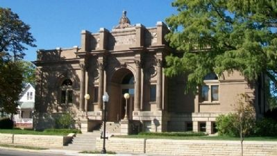 Lawrence City [Carnegie] Library and Markers image. Click for full size.