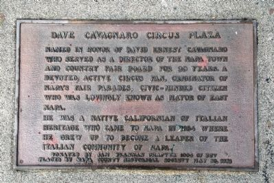 Dave Cavagnaro Circus Plaza Marker image. Click for full size.