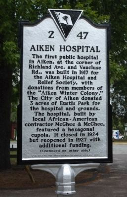 Aiken Hospital Marker image. Click for full size.