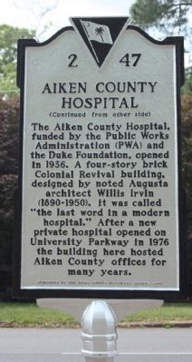 Aiken County Hospital Marker image. Click for full size.