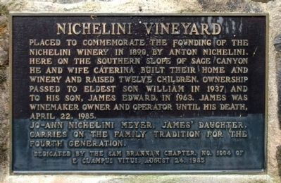 Nichelini Vineyard Marker image. Click for full size.